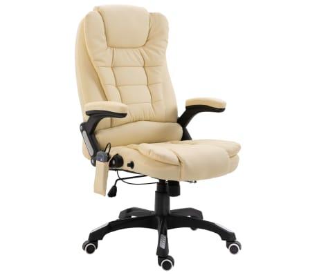 vidaXL Masažinė biuro kėdė, kreminės spalvos, dirbtinė oda