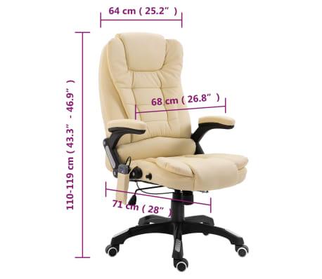 vidaXL Chaise de bureau de massage Crème Similicuir[10/10]