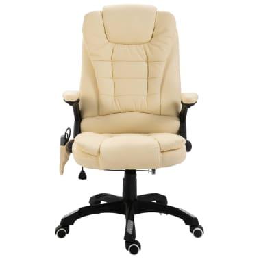 vidaXL Chaise de bureau de massage Crème Similicuir[2/10]