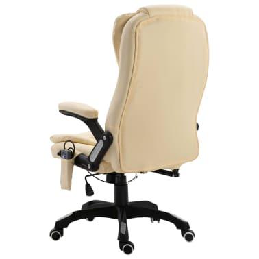 vidaXL Chaise de bureau de massage Crème Similicuir[3/10]