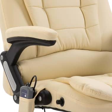 vidaXL Chaise de bureau de massage Crème Similicuir[8/10]