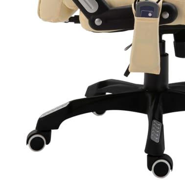 vidaXL Chaise de bureau de massage Crème Similicuir[9/10]