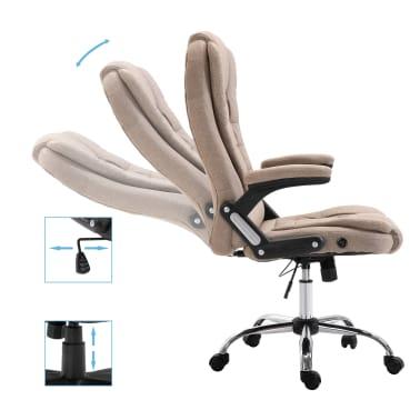vidaXL Chaise de bureau Taupe Polyester[5/9]