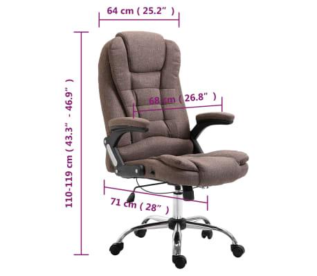 vidaXL Chaise de bureau Marron Polyester[9/9]
