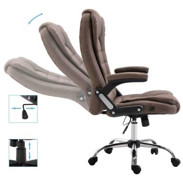 vidaXL Chaise de bureau Marron Polyester[5/9]
