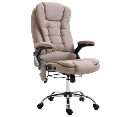 vidaXL Masažinė biuro kėdė, taupe spalvos, poliesteris