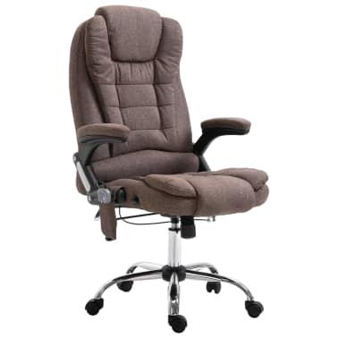 vidaXL Chaise de bureau de massage Marron Polyester[1/10]