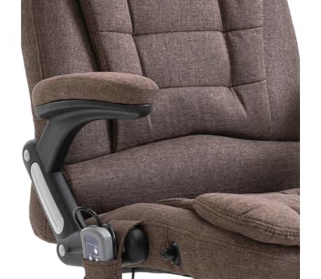 vidaXL Chaise de bureau de massage Marron Polyester[8/10]