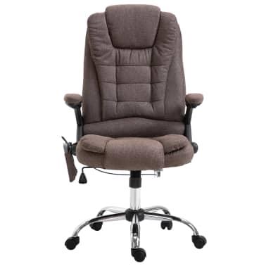 vidaXL Chaise de bureau de massage Marron Polyester[2/10]