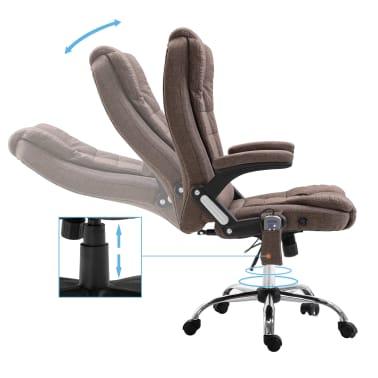 vidaXL Chaise de bureau de massage Marron Polyester[5/10]