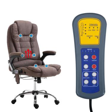 vidaXL Chaise de bureau de massage Marron Polyester[6/10]