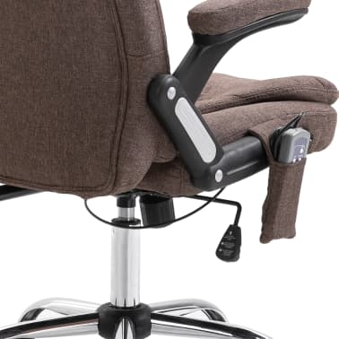 vidaXL Chaise de bureau de massage Marron Polyester[7/10]