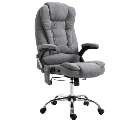 vidaXL Masažinė biuro kėdė, pilka, poliesteris