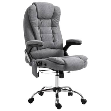 vidaXL Masažinė biuro kėdė, pilka, poliesteris[1/11]