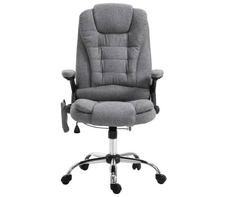 vidaXL Masažinė biuro kėdė, pilka, poliesteris[2/11]