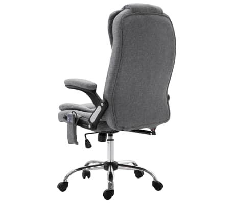 vidaXL Masažinė biuro kėdė, pilka, poliesteris[3/11]