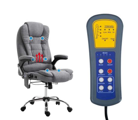 vidaXL Masažinė biuro kėdė, pilka, poliesteris[6/11]