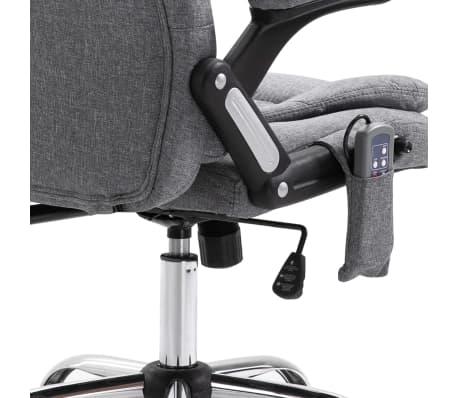 vidaXL Masažinė biuro kėdė, pilka, poliesteris[7/11]