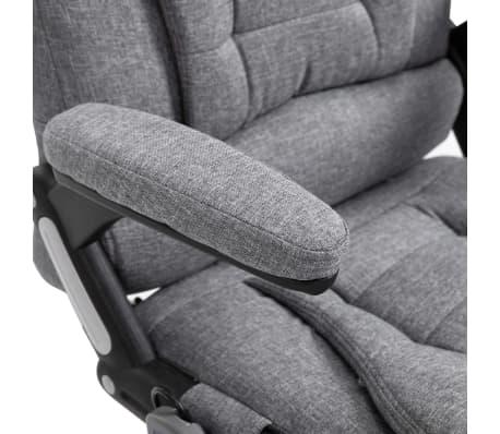 vidaXL Masažinė biuro kėdė, pilka, poliesteris[10/11]