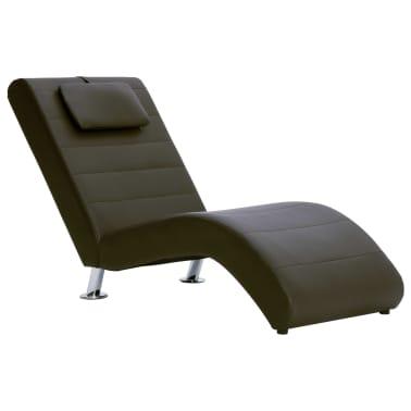vidaXL Poilsio gultas su pagalve, rudas, dirbtinė oda[2/10]