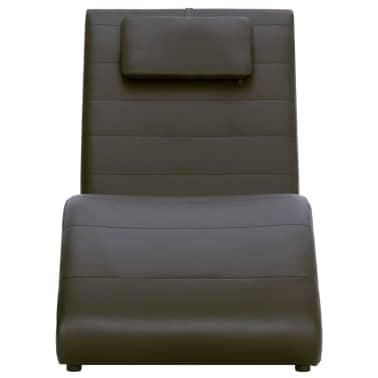 vidaXL Poilsio gultas su pagalve, rudas, dirbtinė oda[3/10]