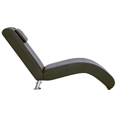 vidaXL Poilsio gultas su pagalve, rudas, dirbtinė oda[4/10]