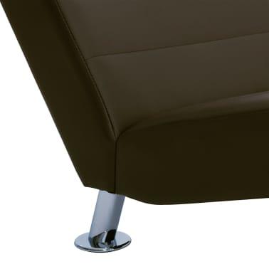 vidaXL Poilsio gultas su pagalve, rudas, dirbtinė oda[7/10]