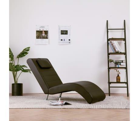 vidaXL Poilsio gultas su pagalve, rudas, dirbtinė oda[1/10]