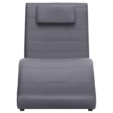 vidaXL Poilsio gultas su pagalve, pilkas, dirbtinė oda[2/10]