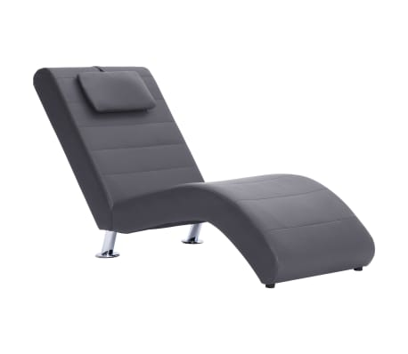 vidaXL Poilsio gultas su pagalve, pilkas, dirbtinė oda[3/10]