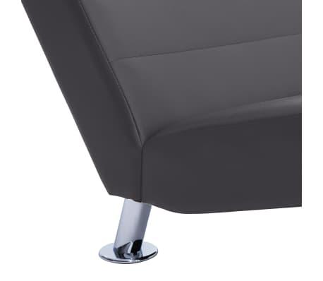 vidaXL Poilsio gultas su pagalve, pilkas, dirbtinė oda[7/10]