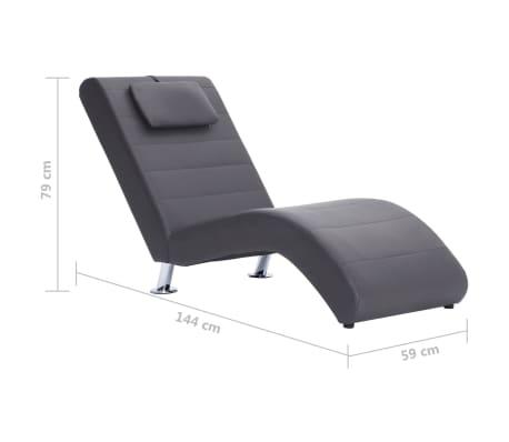 vidaXL Poilsio gultas su pagalve, pilkas, dirbtinė oda[10/10]
