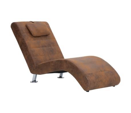 vidaXL Schäslong med kudde brun konstmocka