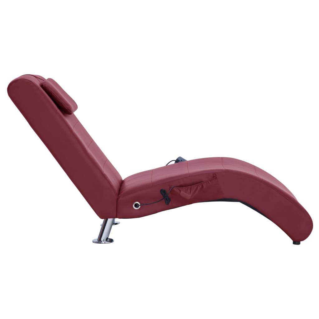 Massage chaise longue met kussen kunstleer wijnrood