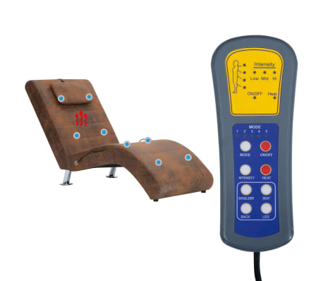 vidaXL Massage Chaiselongue mit Kissen Braun Wildleder-Optik[10/11]