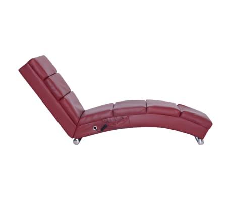 vidaXL Masážní lenoška vínová umělá kůže[3/10]