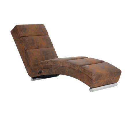 vidaXL Chaise longue de massage Marron Similicuir daim