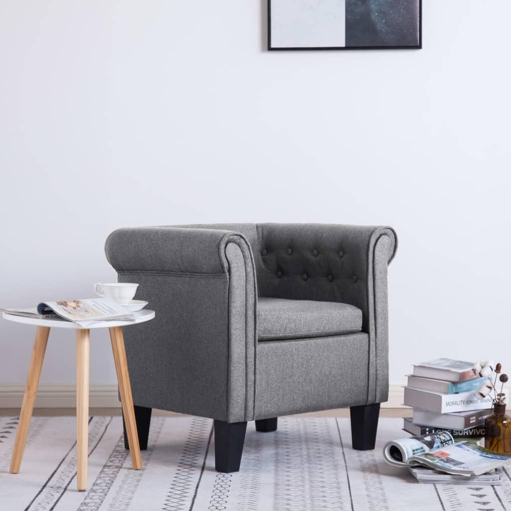 vidaXL Fotel z poduszką, jasnoszary, tkanina