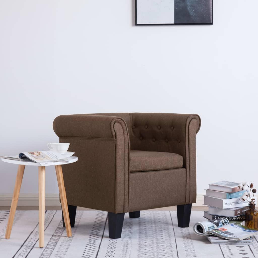 vidaXL Fotel z poduszką, brązowy, tkanina