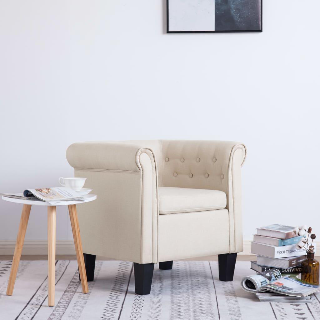 vidaXL Fotel z poduszką, kremowy, tkanina