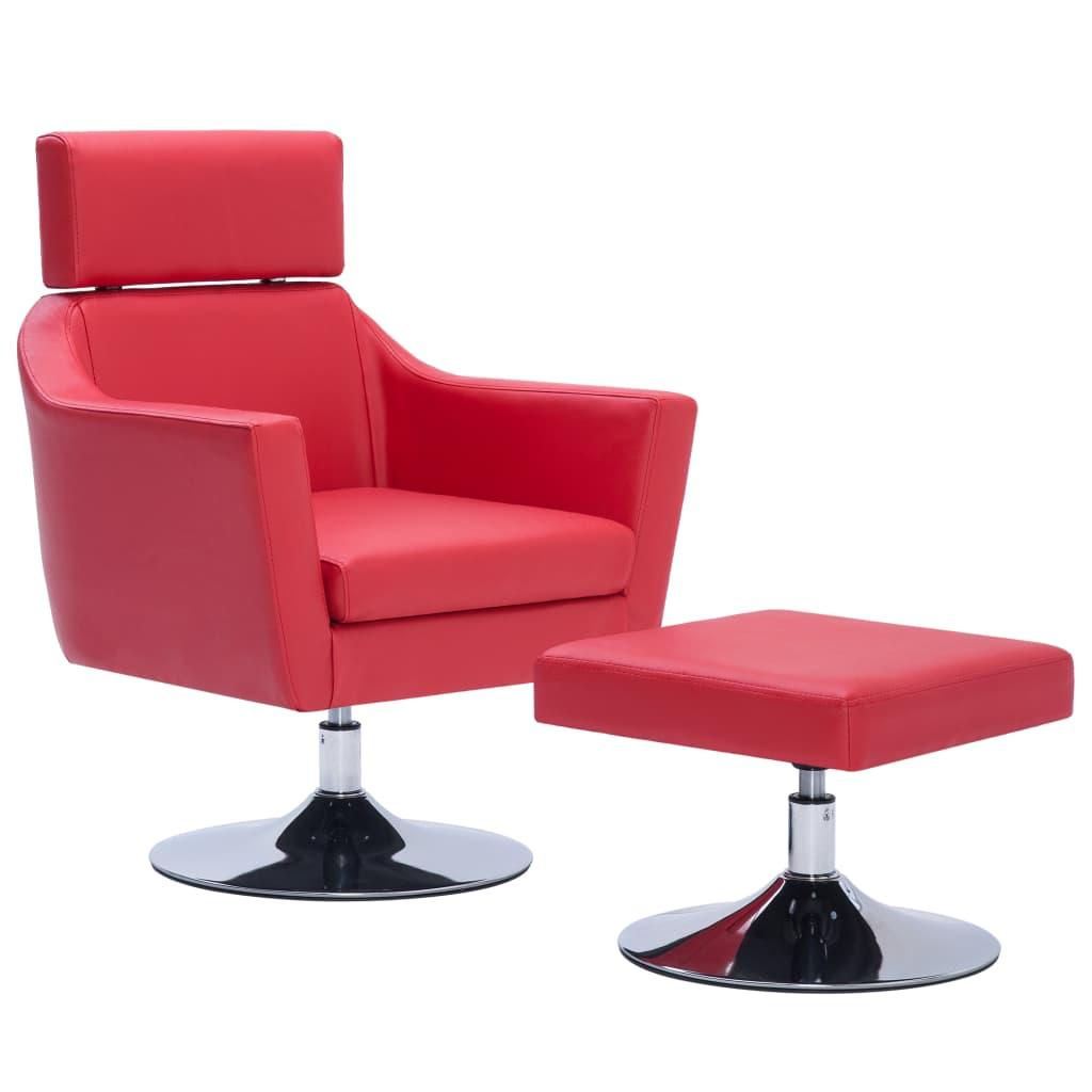 vidaXL Πολυθρόνα με Υποπόδιο Κόκκινη από Συνθετικό Δέρμα