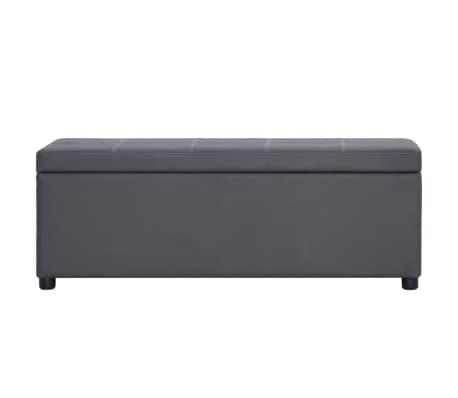 vidaXL Klupa s pretincem za pohranu od umjetne kože 116 cm siva[2/8]