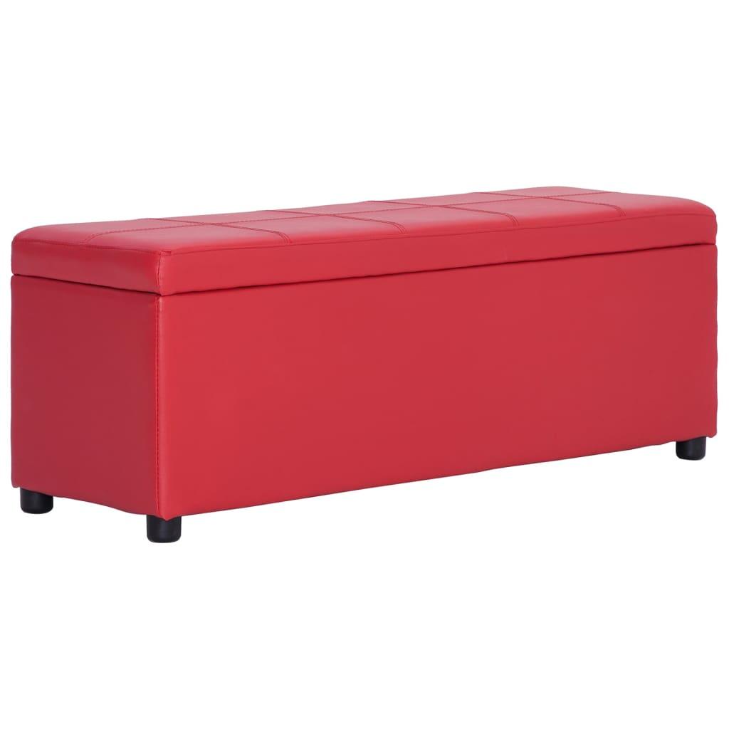 vidaXL Lavice s úložným prostorem 116 cm červená umělá kůže