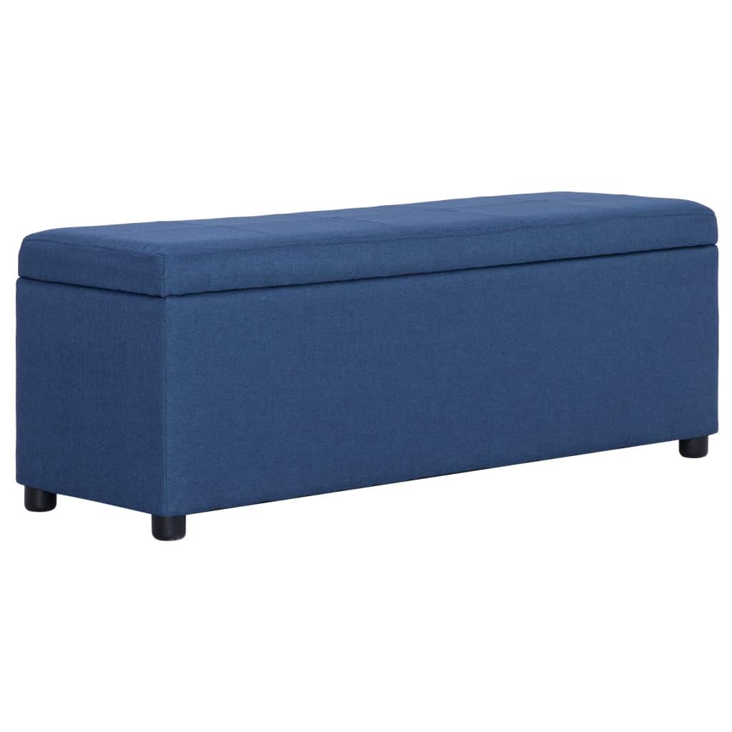 vidaXL Bancă cu compartiment de depozitare albastru, 116 cm, poliester poza vidaxl.ro