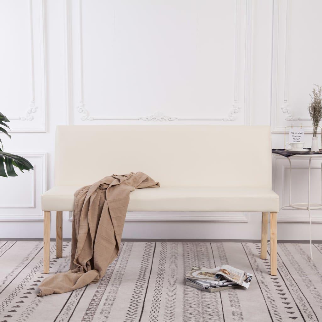 vidaXL Bancă, crem, 139,5 cm, piele ecologică imagine vidaxl.ro