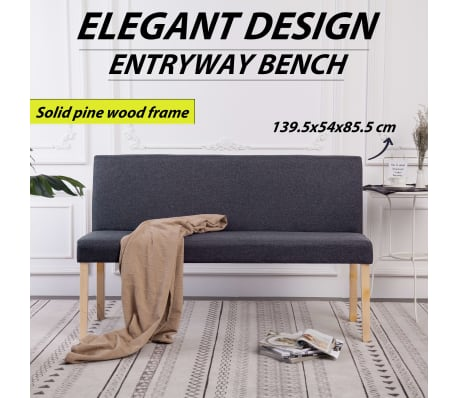 vidaXL Klupa od poliestera 139,5 cm tamnosiva[3/8]