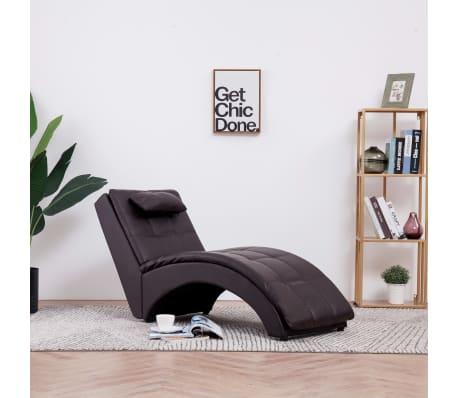 vidaXL Poilsio gultas su pagalve, rudas, dirbtinė oda[1/9]