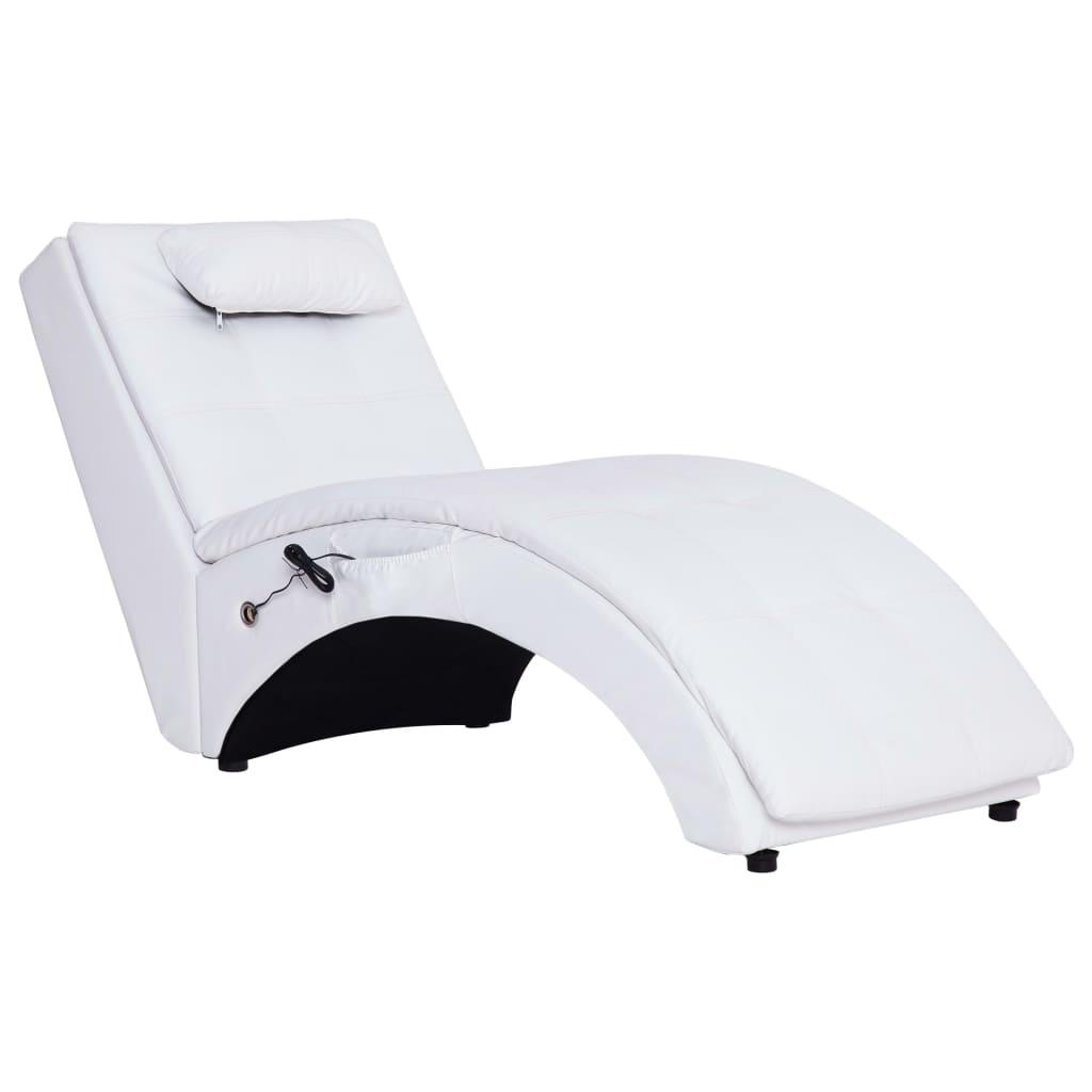 vidaXL Πολυθρόνα/Ανάκλιντρο Μασάζ Λευκή Συνθετικό Δέρμα με Μαξιλάρι