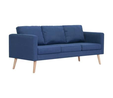 vidaXL Trivietė sofa, mėlyna, audinys[2/8]