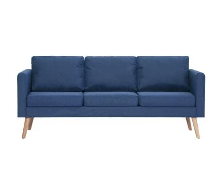 vidaXL Trivietė sofa, mėlyna, audinys[3/8]